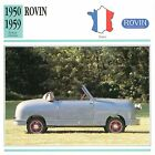 Rovin Microvoiture 2 Cyl. 1950-1959 France CAR VOITURE CARTE CARD FICHE