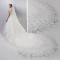 4 Meter White Cathedral Wedding Veils Long Lace Edge Bridal Veil with Comb gift
