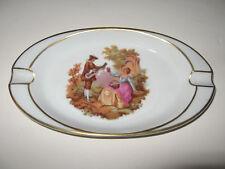 Limoges Porcelain Oval Ashtray Romantic Couple in Garden w/Gold Trim France