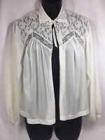 Vtg  Henson Nylon Lace Bed Jacket Shrug Size Medium Off White