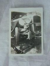 Vintage Car Photo 1928 Pontiac Wreck on Floor Jack 812