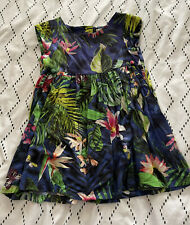 Next Blue Butterfly And Tropical Floral Print Dress 2-3 Years