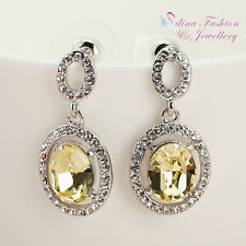 Swarovski Element Hollow-out Oval Yellow Earrings 18K White Gold Gp Made With