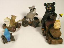 Black Bear & Friends Train Nib Wildlife Cub Squirrel Raccoon Bluebird Toy Le New