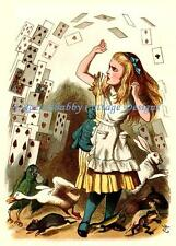 Alice In Wonderland Crazy Flying Card Fabric Block 8x10