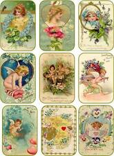 Vintage antique pastel Valentine small note tags cards scrapbooking crafts set 9
