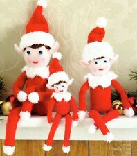 3 CHRISTMAS ELVES KNITTING PATTERN  27cms, 41cms, 52cms