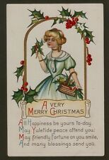 Collectible Christmas/New Year Postcard: Girl in Green Dress with Holly Basket