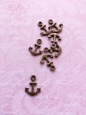 10 Kleine Anker Anhänger ♥ Maritimer Schmuck Basteln Deko Charms Vintage Bronze