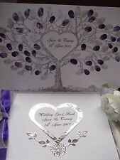Personalised Wedding Guest Book AND Wedding Fingerprint Tree + 2 ink pads BOXED