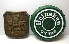 Vintage Heineken Beer Sign Lot Plastic Bottle Cap & Faux Wood 70s 80s Fast Ship
