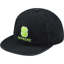 SUPREME Fitted Denim Varsity 6-Panel Cap Black M box logo camp safari F/W 14