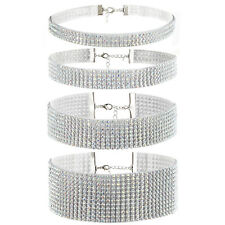 4pcs Bling Rhinestone Choker Necklace Womens Wedding Party Chain Bib Statement