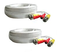 2 PACK 60 Feet Video Power BNC RCA Cable fit Night Owl CCTV Security Cameras