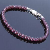 Men's Women Garnet Bracelet 925 Sterling Silver Clasp AAA Gemstone DIY-KAREN 460