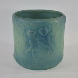 Vintage Van Briggle Pottery Matte Blue Cerubs Planter Shape 778 (Key)