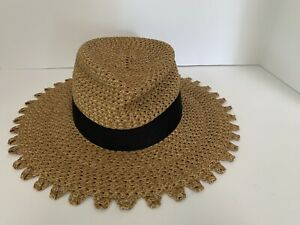 NWT ERIC JAVITS Cannes Squishee Straw Packable Sun Hat Natural Black Scalloped