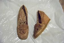 womens paris blues aged brown tassel wedge heels shoes size 8 1/2