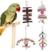 Wood Pet Bird Parrot Climb Chew Toy Parakeet Budgie Pet Toys With Bell Playing