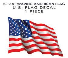 "American Flag Bumper sticker Waving 1pc decal 6"" patriotic USA US VINYL die-cut"
