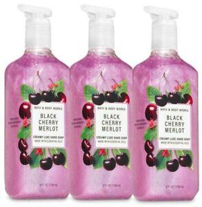 3 BATH & BODY WORKS CREAMY LUXE HAND SOAP WASH BLACK CHERRY MERLOT 8 OZ NEW