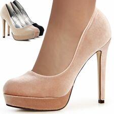 Mujer Tacones Velours Altos Plataforma Estilete Boda Fiesta Zapatos de Noche