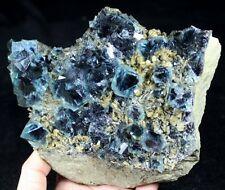 1385g NEW FIND - Blue Fluorite with Purple center & Siderite & Quartz CMM730670