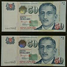 Singapore $50 Potrait Prefix 5AA 2pcs Rn UNC
