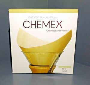 Chemex FSU-100 Natural Coffee Filters 8 Cup New Box of 100 Pre-Folded Filters