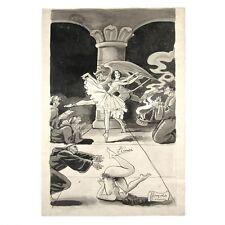 Leopoldo Cenni, Vintage French Satirical Drawing,Satanic Possession Monks, Nude