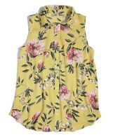LOFT Women's S - NWT$49 Yellow Floral Mixed Media Button-Front Shell Tank