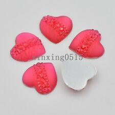 10 Pcs 20mm resin heart cat's eye Flatback Rhinestone wedding buttons DIY crafts