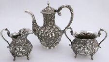 Stieff Rose Repousse Sterling Silver Individual Coffee / Tea Pot, Sugar, Creamer