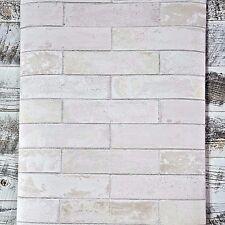 Soft Gray Taupe 3D Realistic Modern Faux Brick Designer White Wash Wallpaper