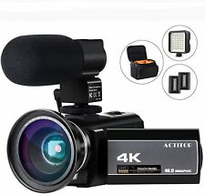 Video Camera 4K Camcorder WiFi Vlogging Recorder 48MP Night Vision Touch Screen