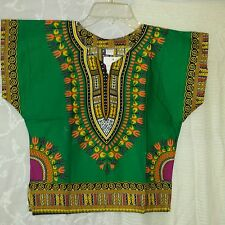 African Kids Boys Girls Dashiki Top Hippie Blouse Green Yellow Black Free Size