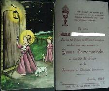 ESTAMPA HOLY CARD PRIMERA COMUNION IGLESIA OMNIUM SANCTORUM SEVILLA 1955  CC1596