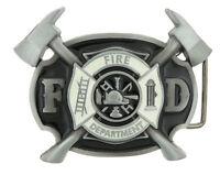Fire Department FD Firefighter w/ Axes Enamel Belt Buckle