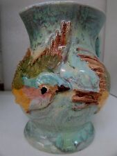 UNA DEERBON AUSTRALIAN POTTERY JUG WITH DECORATIVE RELIEF BIRDS ARTS CRAFTS
