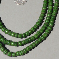 "32"" 81cm strand venetian 3 layer small green chevron african trade beads #1774"