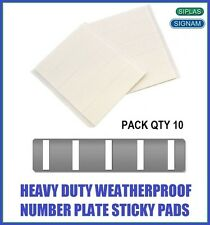 Qty 10 Number Plate Pads Stickers Double Sided Self Adhesive Strips Sticky Pads