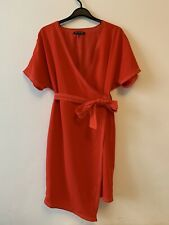 Next Petite Size 10 Red Wrap Dress A-symetric New Year Christmas Party