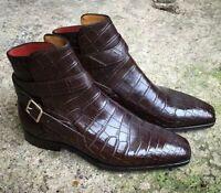 Handmade Men's Crocodile Jodhpurs Boot, Men Monk strap Leather Ankle boots