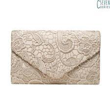 Ladies Lace Satin Clutch Handbag Envelope Wedding Prom Bride Evening ShoulderBag