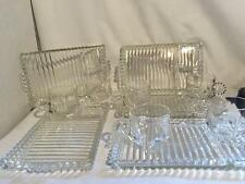 Hazel Atlas Ball & Rib Snack Plates with Cups - Set of 5 - 1950s-70s