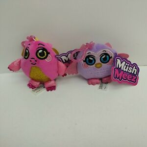 """MushMeez 3.5"""" Keyring Pink Dragon & Lilac Owl - New with Tags"""