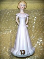Mib Blonde Growing Up Birthday Girls Age 13 Yrs Figure Bisque Porcelain-Enesco
