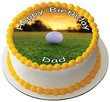 GOLF FATHERS DAY 7.5 PREMIUM Edible RICE CARD Cake Topper CAN PERSONALISED D1