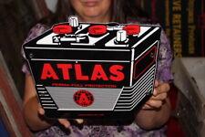 Atlas Batteries Gas Station Chevrolet Ford Dodge Mopar Porcelain Metal Sign