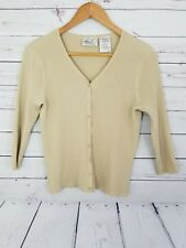 Kathie Lee Women's Cardigan Size M Beige Button Down 3/4 Sleeve (G)